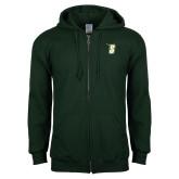 Dark Green Fleece Full Zip Hoodie-S