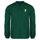 V Neck Dark Green Raglan Windshirt-S