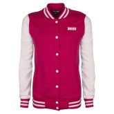 Ladies Pink Raspberry/White Fleece Letterman Jacket-Siena