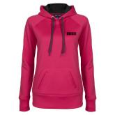 Ladies Pink Raspberry Tech Fleece Hoodie-Siena