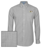 Mens Charcoal Plaid Pattern Long Sleeve Shirt-Official Logo