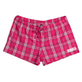 Ladies Dark Fuchsia/White Juniors Flannel Plaid Boxer-Siena