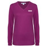Ladies Deep Berry V Neck Sweater-Siena