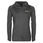 Ladies Sport Wick Stretch Full Zip Charcoal Jacket-Siena