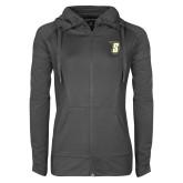 Ladies Sport Wick Stretch Full Zip Charcoal Jacket-S