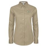Ladies Khaki Twill Button Down Long Sleeve-Siena