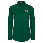 Ladies Dark Green Twill Button Down Long Sleeve-Official Logo