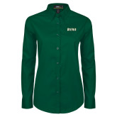 Ladies Dark Green Twill Button Down Long Sleeve-Siena