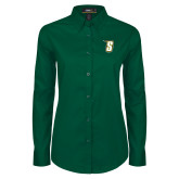 Ladies Dark Green Twill Button Down Long Sleeve-S