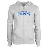 ENZA Ladies White Fleece Full Zip Hoodie-Saint Louis Billikens
