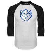 White/Black Raglan Baseball T Shirt-Billiken