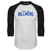 White/Black Raglan Baseball T Shirt-Saint Louis Billikens