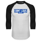 White/Black Raglan Baseball T Shirt-Saint Louis Baseball - In Container
