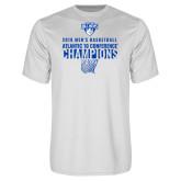 Performance White Tee-2019 Mens Basketball Champions