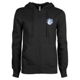 ENZA Ladies Black Fleece Full Zip Hoodie-Billiken