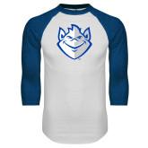 White/Royal Raglan Baseball T Shirt-Billiken