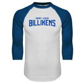 White/Royal Raglan Baseball T Shirt-Saint Louis Billikens