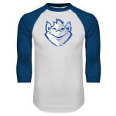 White/Royal Raglan Baseball T Shirt-Billiken Distressed