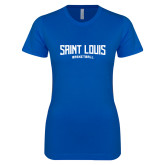 Next Level Ladies SoftStyle Junior Fitted Royal Tee-Saint Louis Basketball
