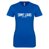 Next Level Ladies SoftStyle Junior Fitted Royal Tee-Saint Louis Softball