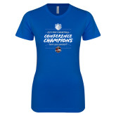 Next Level Ladies SoftStyle Junior Fitted Royal Tee-2019 A10 Basketball Champions