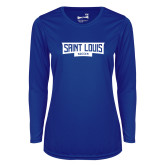 Ladies Syntrel Performance Royal Longsleeve Shirt-Saint Louis Soccer - In Container
