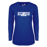 Ladies Syntrel Performance Royal Longsleeve Shirt-Saint Louis Softball - In Container