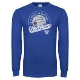 Royal Long Sleeve T Shirt-2019 Mens Basketball A10 Champions