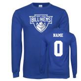 Royal Long Sleeve T Shirt-Primary Mark, Custom tee w/ name and #
