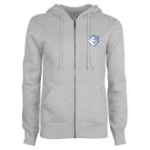 ENZA Ladies Grey Fleece Full Zip Hoodie-Billiken
