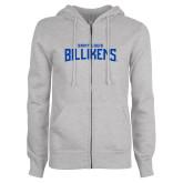 ENZA Ladies Grey Fleece Full Zip Hoodie-Saint Louis Billikens