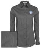 Ladies Grey Tonal Pattern Long Sleeve Shirt-Billiken