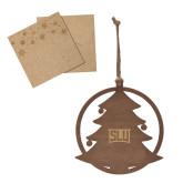 Wood Holiday Tree Ornament-SLU in Frame Engraved