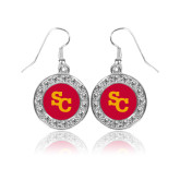 Crystal Studded Round Pendant Silver Dangle Earrings-SC Interlocking