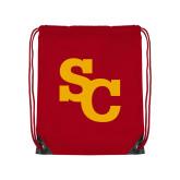 Red Drawstring Backpack-SC Interlocking