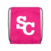 Pink Drawstring Backpack-SC Interlocking