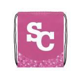 Nylon Pink Bubble Patterned Drawstring Backpack-SC Interlocking