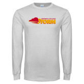 White Long Sleeve T Shirt-Simpson College Storm Logo
