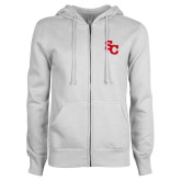 ENZA Ladies White Fleece Full Zip Hoodie-SC Interlocking