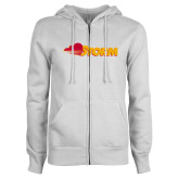 ENZA Ladies White Fleece Full Zip Hoodie-Storm Secondary Logo