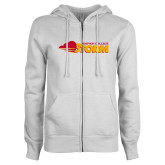 ENZA Ladies White Fleece Full Zip Hoodie-Simpson College Storm Logo