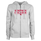 ENZA Ladies White Fleece Full Zip Hoodie-Simpson College Flat Word Mark