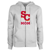 ENZA Ladies White Fleece Full Zip Hoodie-SC Mom