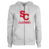 ENZA Ladies White Fleece Full Zip Hoodie-SC Alumni