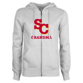 ENZA Ladies White Fleece Full Zip Hoodie-SC Grandma