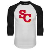 White/Black Raglan Baseball T Shirt-SC Interlocking