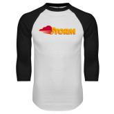 White/Black Raglan Baseball T Shirt-Storm Secondary Logo