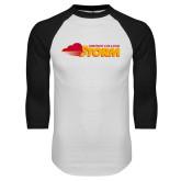 White/Black Raglan Baseball T Shirt-Simpson College Storm Logo