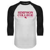 White/Black Raglan Baseball T Shirt-Simpson College Flat Word Mark