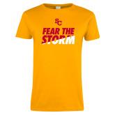 Ladies Gold T Shirt-SC Fear the Storm